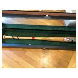 Signed Yankees baseball bat w/display case