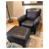 Leather couch, ottoman