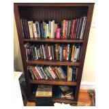 Wood bookcase w/books