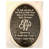 Historic Mount Vernon home plaque