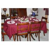 VINTAGE MOHOGANY DINING TABLE + CHAIRS