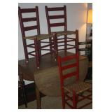 RED PRIMITIVE CHAIRS ~ DROP LEAF TABLE