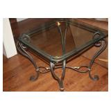 TWO WROUGHT IRON / GLASS LAMP TABLES