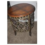 WROUGHT IRON WITH LEATHER TOP LAMP TABLE