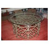 WROUGHT IRON / GLASS FOYER TABLE