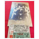 1934 LOGANSPORTHIGH SCHOOL CHAMPIONSHIP PICTURE N TICKET STUB
