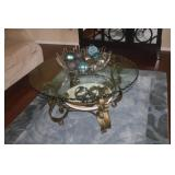 40 INCH ROUND METAL N GLASS COFFEE TABLE