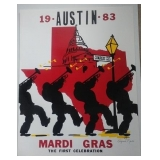 1983 Austin Mardi Gras, The First Celebration, signed by the artist, Virginia North