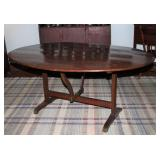 "Antique 19th Century Oval Tilt-Top (60"" x 44"") table and tilts to a vertical position so it may be s"