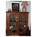 "Antique Pine  Cabinet Top - Double Door Glass Front Jelly Cabinet (37"" H x 36""W x 13""D).   A display"