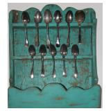 "Primitive Folk Art 20th Century Spoon Cabinet (21""W x 26""H x 7""D) shown with Antique Serving Spoons"