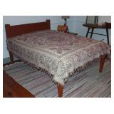 "Antique 1800's Solid Wood Rope Bed with bed board and mattress. Shown with a vintage Reversible ""Eag"