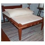 Antique 1800's Solid Wood Rope Bed with bed board and mattress. Shown folded back, Lake Comfort Feat