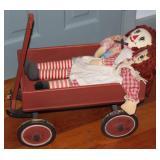 "Vintage Handmade Wooden ""Little Red Wagon"" with Andy Raggedy Ann and Andy along for the ride."