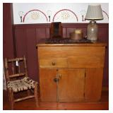 American Primitive Antique Child's Log Chair with braided rope seat.   Dry Sink with Lift Top Storag