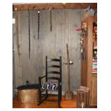 Photo view: Large Antique Copper Boiler with Lid,  Antique Black Pilgrim or Great Ladder Back Chair/