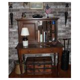 Overall View American Antique Plantation Desk with wide drawer and double doors.  Bottom Desk Area (