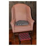 Williamsburg Vintage Red and White Upholstered Winged Back Chair. Shown with a  Red and Black Tape B