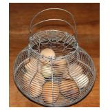 Vintage Wire Egg Basket with Wooden Eggs