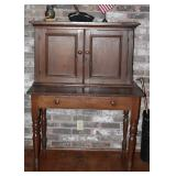 "American Antique Plantation Desk with wide drawer and double doors.  Bottom Desk Area (32""H x 42""W x"