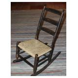 Antique American Primitive Old Black Paint Ladies Rocker with Rush Seat