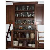 Antique Primitive Americana Large Step-back Cupboard finales with a large Collection of Antique Pewt
