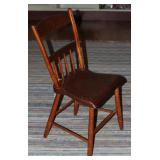 Antique New England Solid Wood, Half Spindle Back Saddle Seat Chair. cc.1870's