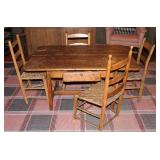 Another view of Antique 1700's Cape Cod Tavern Table Shown with 4 Various Styles of Antique Slat/Lad