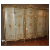 """French Antique Handpainted, Gold Gilt Accent 5 Door Armoire (9'W x 7'H x 25""""D).  Center section has"""