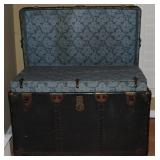 "Antique Large Black Steamer Trunk with Brass fitting and complete interior   (36""W x 20""H x  21""D)."