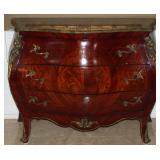 """Inlaid Bombay  Green Marble Top 3-Drawer Ornate Chest With Ormolu Mounts (48""""W x 36""""H x 21""""D)"""
