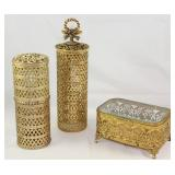 Hollywood Regency Mid Century Gold Plated Filigree Hairspray Can Covers/Caddy and a Bevel Glass Top