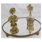 Hollywood Regency Mid Century Gold Plated Mirror Vanity Footed Tray, and 2 Perfume Bottles