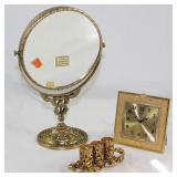 Stylebuilt Hollywood Regency Mid Century Gold Plated Vanity Mirror, Lipstick Holder and Bulovar Cloc