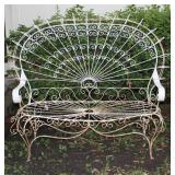 Gorgeous Salterini Style Mid-Century Wrought Iron Fan  Peacock Back Lawn/Patio Settee Bench