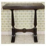 """Antique small Trestle base walnut Occasional Table, 30"""" W x 15"""" D x 29 1/2"""" H"""