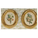 """Vintage Gold Leaf oval framed floral prints 12"""" x 14"""""""