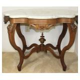 """Victorian White Marble Top Center Table, 38 1/2"""" W x 25 1/2 D x 28"""" H"""