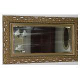 "Antique ornate 7"" depth Gold Gilt Framed beveled Mirror 52"" x 30"""