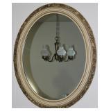 "Venice Style Gold Leaf on ecru Wood frame oval mid century mirror 28"" x 34"""