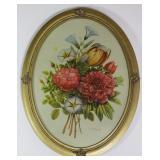 """Vintage floral bouquet print in oval Gold Leaf Frame 14"""" W x 18"""" H"""