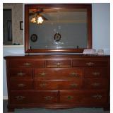 Cherry 11 Drawer Dresser with Mirror