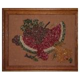 "Vintage dyed corn kernel collage hand crafted fruit still life on burlap in oak frame 21"" W x 17""H"