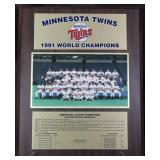 """Minnesota Twins 1991 World Champions Wall Plaque (13"""" x 16"""")"""