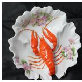 Victoria Austria Pink Rose & Red Lobster Small Serving Dish Circa 1900 - 1910