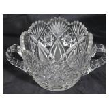 """American brilliant cut crystal double handled bowl 5"""" H x 6 1/2"""" bowl diameter, overall 10"""" W"""