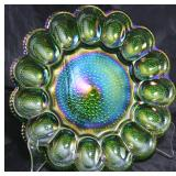 "Indiana Glass green carnival deviled egg tray 11"" diameter"