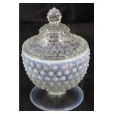 """Moon glow Hobnailed Covered Candy Dish. 7"""" H x 5"""" diameter"""