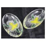 "Studio Nova crystal yellow orchid oval dish. 7"" x  4"""