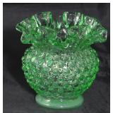 "Fenton green Hobnail Vase 4 1/2"" H x 5"" diameter"
